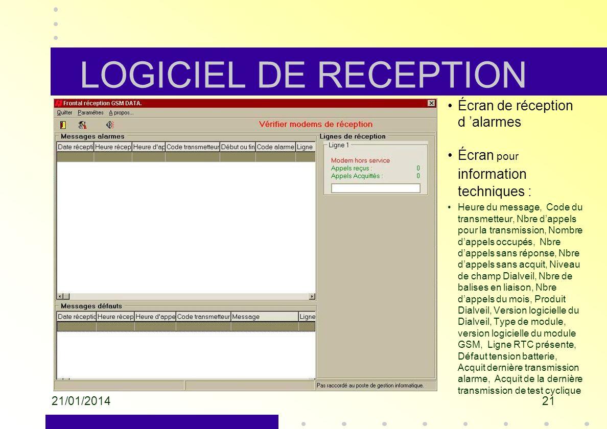 LOGICIEL DE RECEPTION Écran de réception d 'alarmes
