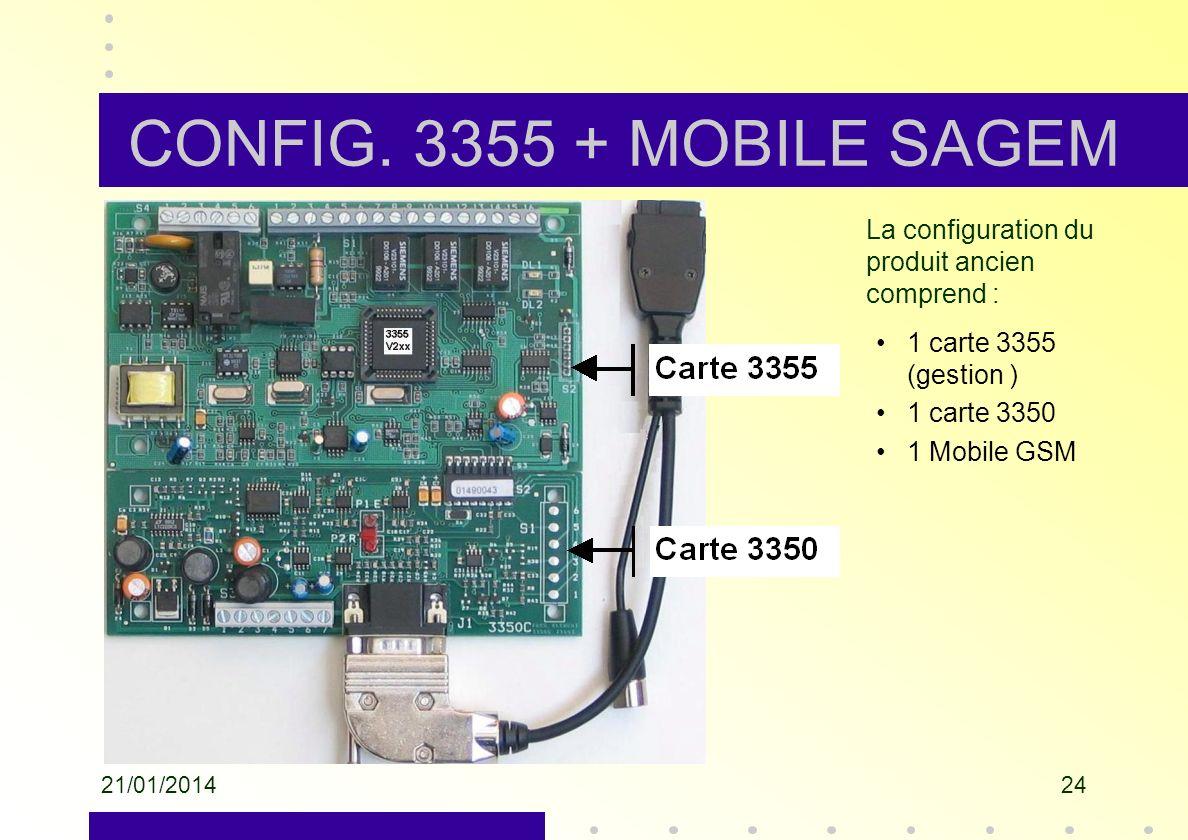 CONFIG. 3355 + MOBILE SAGEM La configuration du produit ancien comprend : 1 carte 3355 (gestion ) 1 carte 3350.
