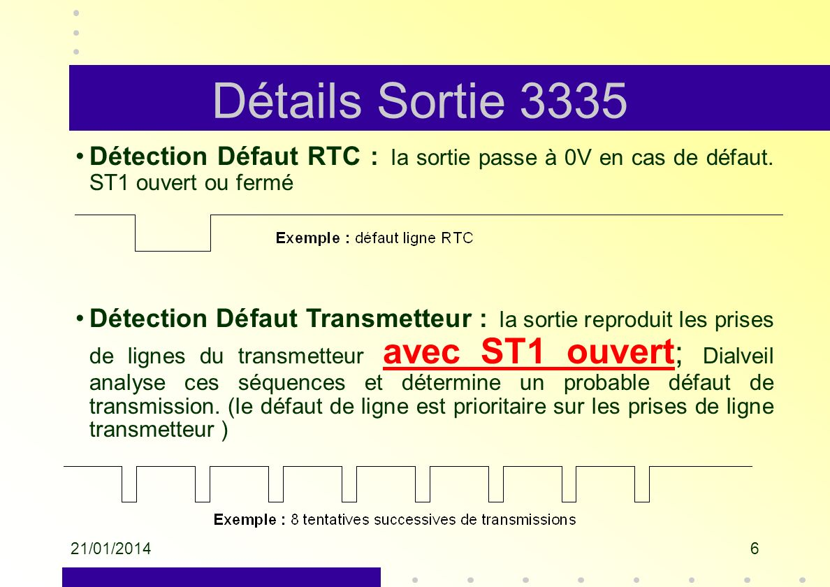 Détails Sortie 3335Détection Défaut RTC : la sortie passe à 0V en cas de défaut. ST1 ouvert ou fermé.