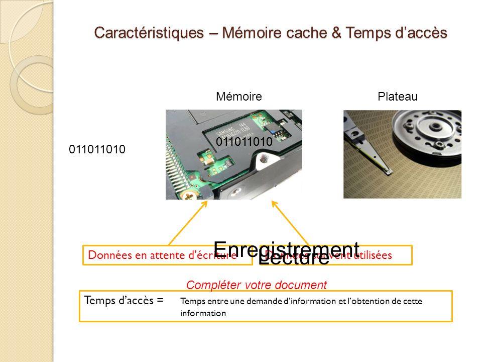 Caractéristiques – Mémoire cache & Temps d'accès