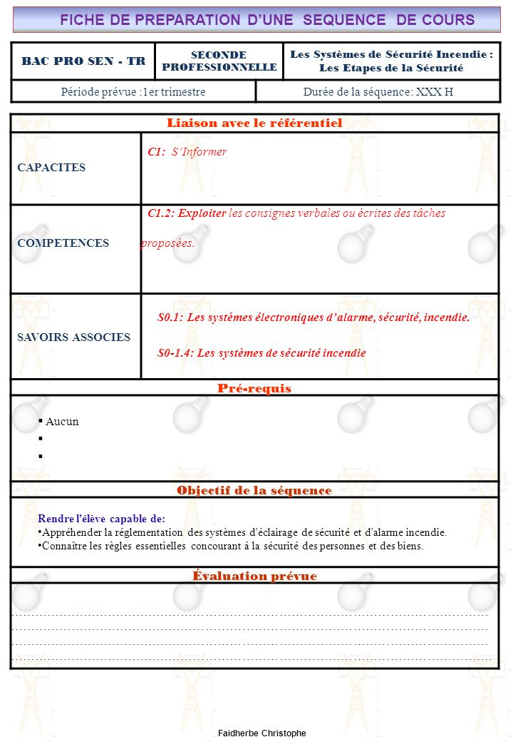 FICHE DE PREPARATION D'UNE SEQUENCE DE COURS