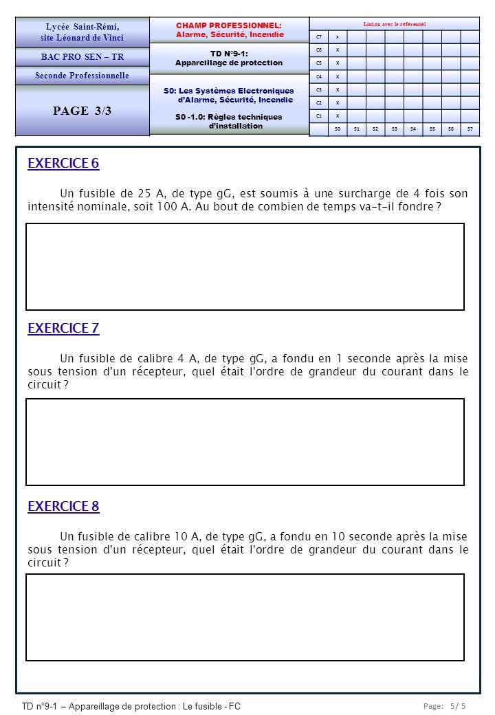 PAGE 3/3 EXERCICE 6 EXERCICE 7 EXERCICE 8