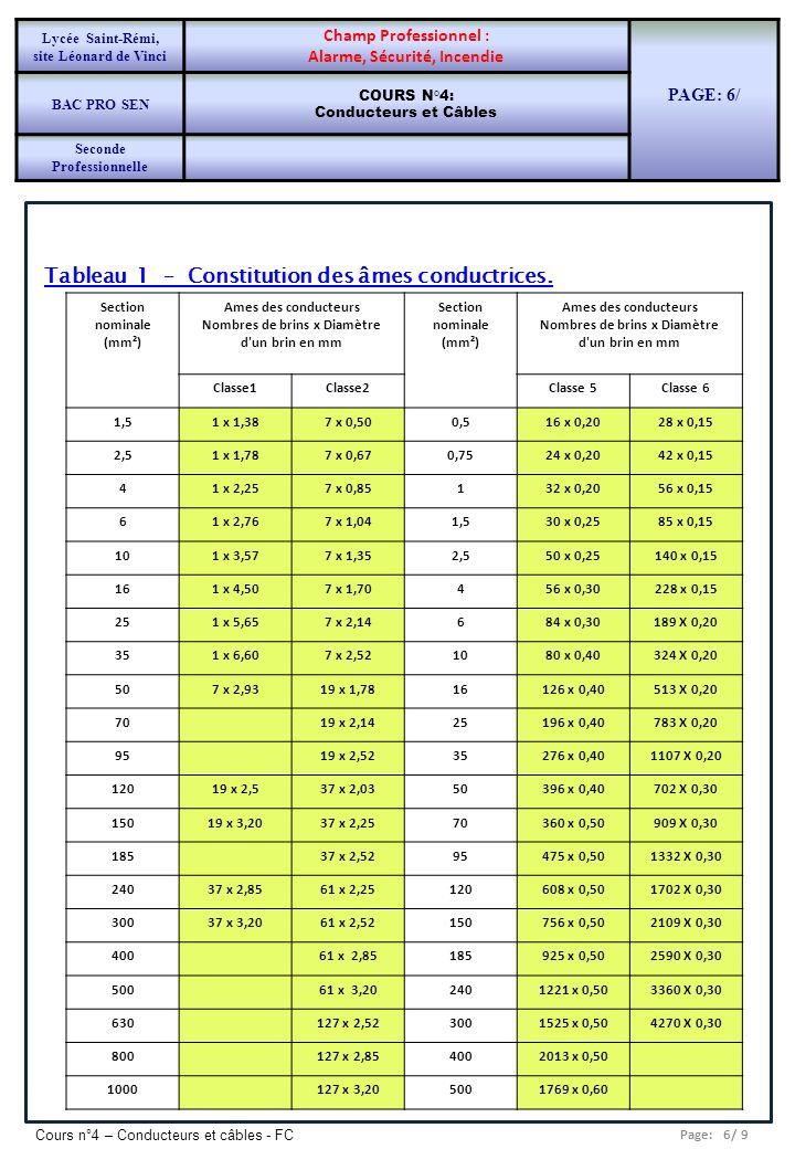 Tableau 1 – Constitution des âmes conductrices.