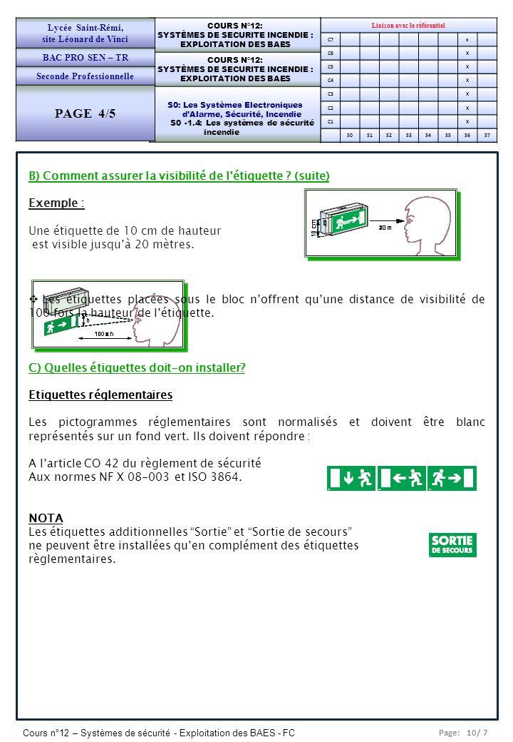 PAGE 4/5 B) Comment assurer la visibilité de l'étiquette (suite)