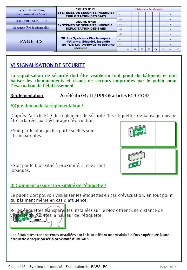 V) SIGNALISATION DE SECURITE