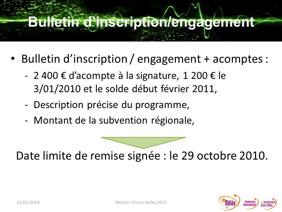 Bulletin d'inscription/engagement
