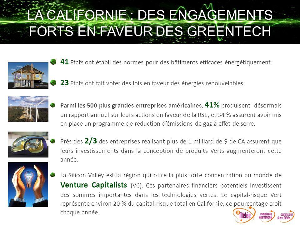 LA CALIFORNIE : DES ENGAGEMENTS FORTS EN FAVEUR DES GREENTECH