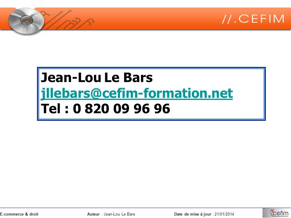 Jean-Lou Le Bars jllebars@cefim-formation.net Tel : 0 820 09 96 96