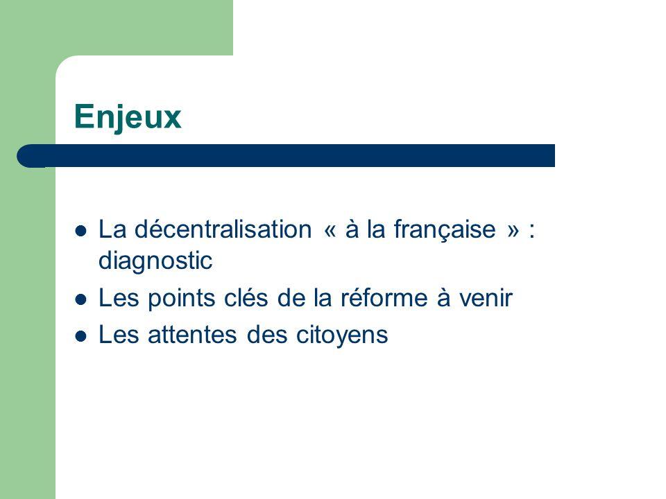 Enjeux La décentralisation « à la française » : diagnostic
