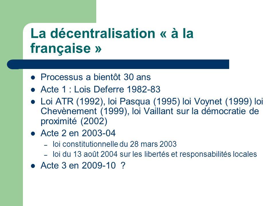 La décentralisation « à la française »
