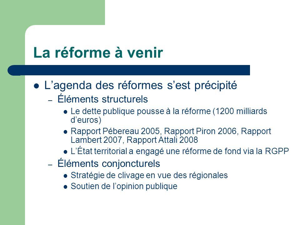 La réforme à venir L'agenda des réformes s'est précipité