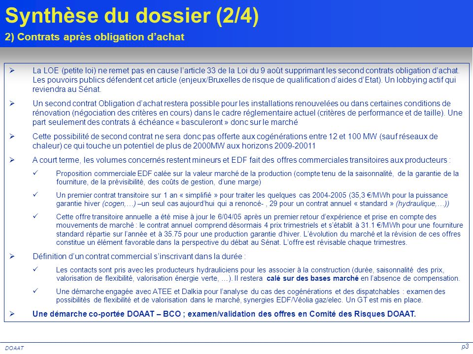Synthèse du dossier (2/4)