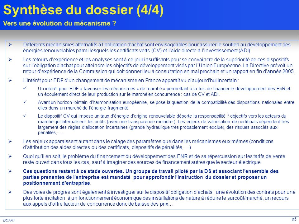 Synthèse du dossier (4/4)