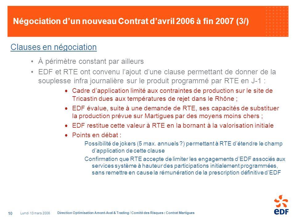 Négociation d'un nouveau Contrat d'avril 2006 à fin 2007 (3/)