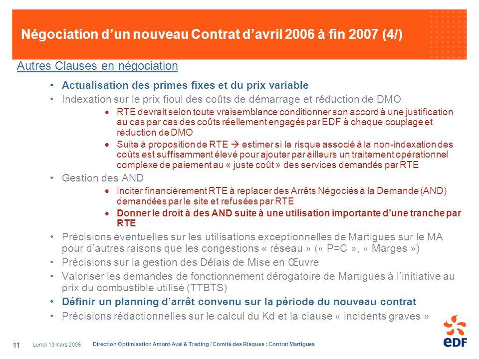 Négociation d'un nouveau Contrat d'avril 2006 à fin 2007 (4/)