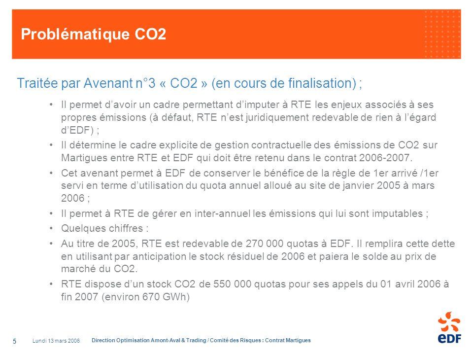 Problématique CO2 Traitée par Avenant n°3 « CO2 » (en cours de finalisation) ;