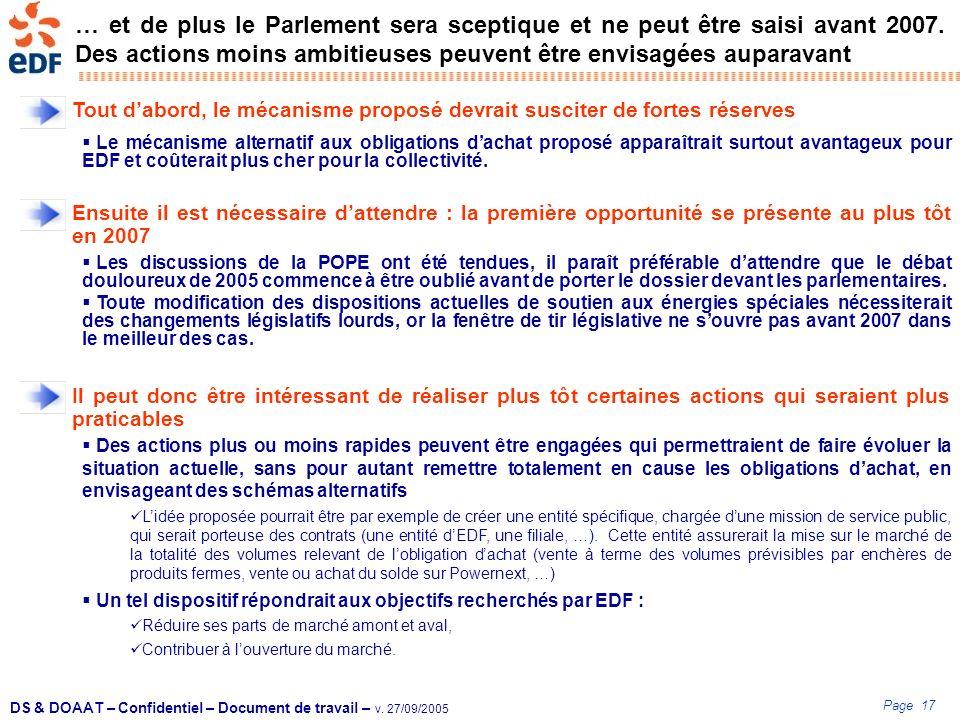… et de plus le Parlement sera sceptique et ne peut être saisi avant 2007. Des actions moins ambitieuses peuvent être envisagées auparavant