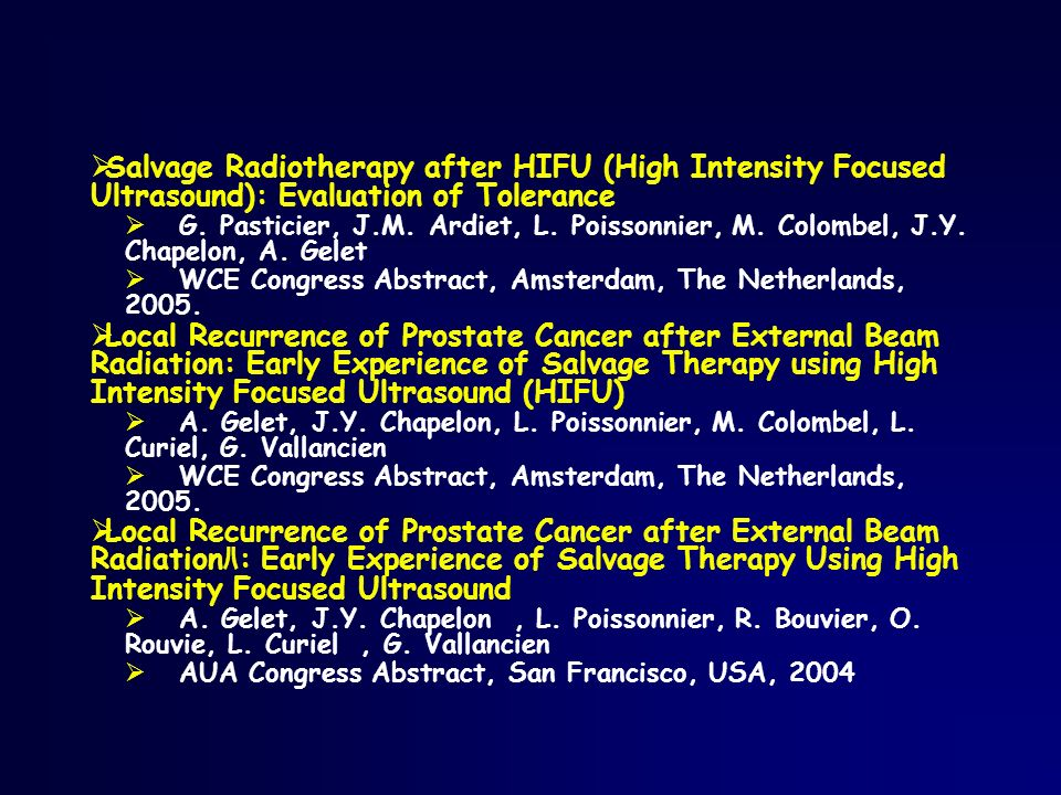 Salvage Radiotherapy after HIFU (High Intensity Focused Ultrasound): Evaluation of Tolerance