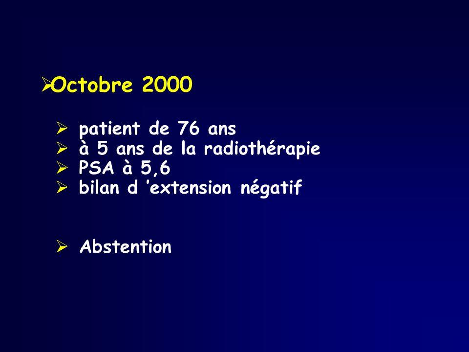 Octobre 2000 patient de 76 ans à 5 ans de la radiothérapie PSA à 5,6