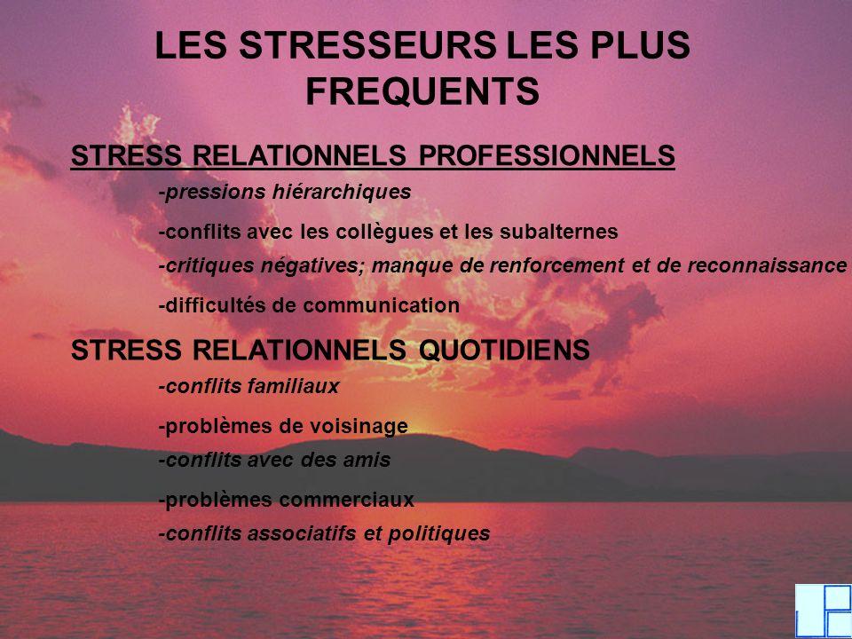 LES STRESSEURS LES PLUS