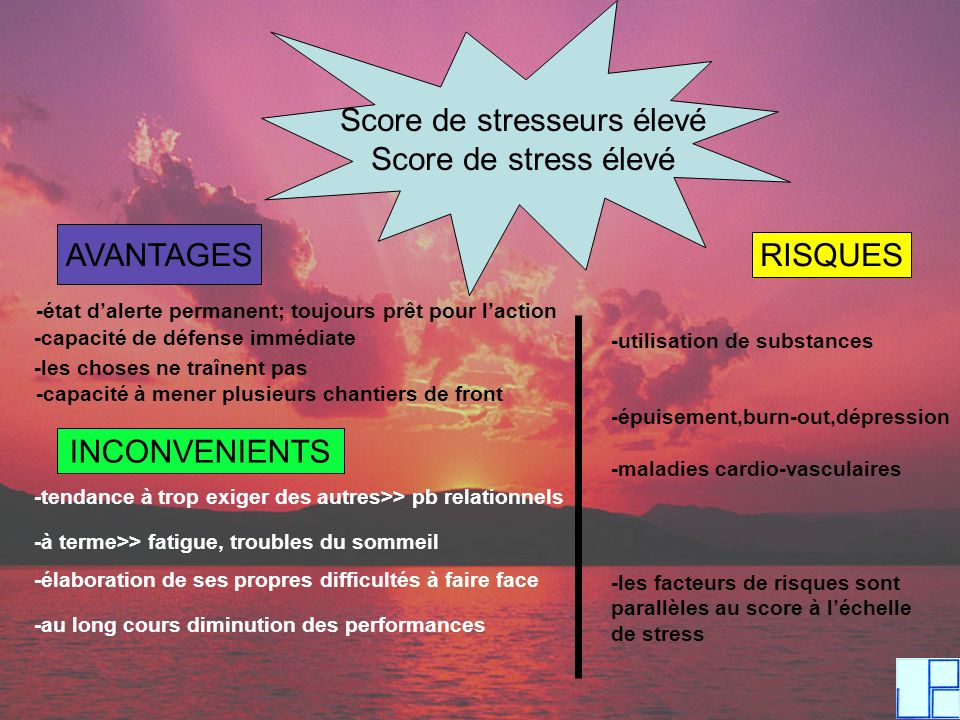 Score de stresseurs élevé