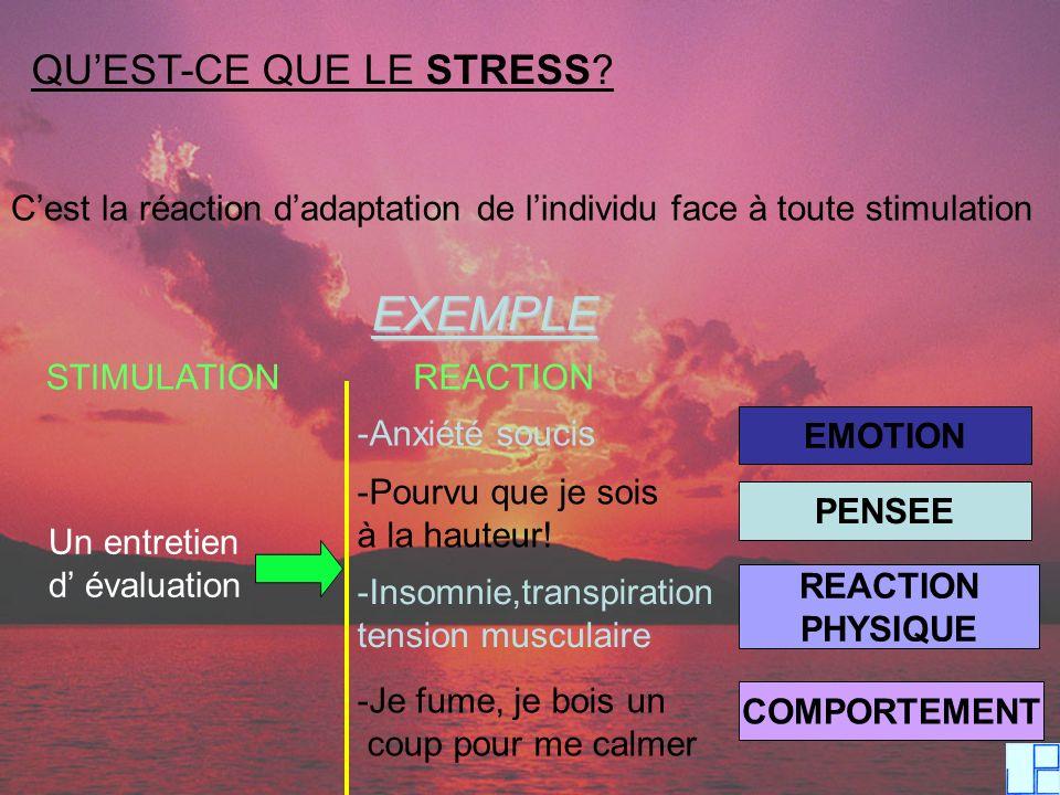 EXEMPLE QU'EST-CE QUE LE STRESS
