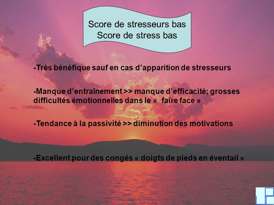 Score de stresseurs bas
