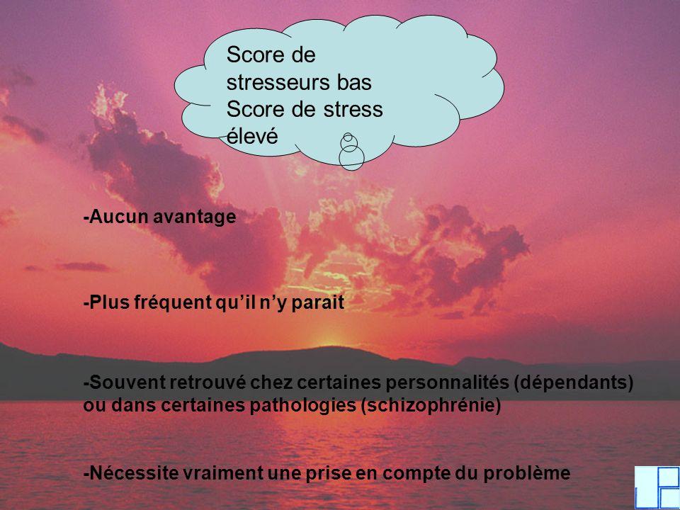 Score de stresseurs bas Score de stress élevé