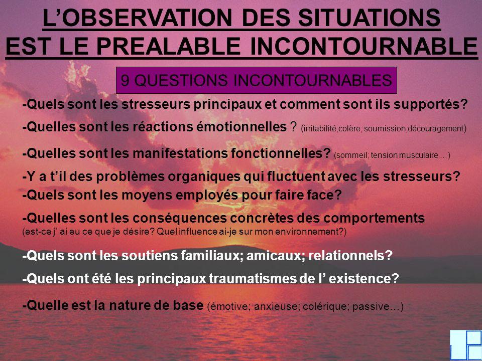 L'OBSERVATION DES SITUATIONS EST LE PREALABLE INCONTOURNABLE