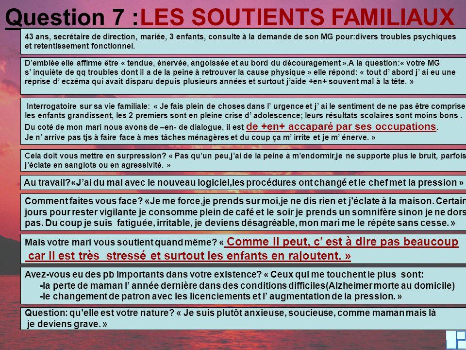 Question 7 :LES SOUTIENTS FAMILIAUX