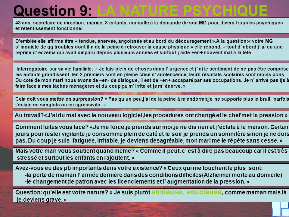 Question 9: LA NATURE PSYCHIQUE