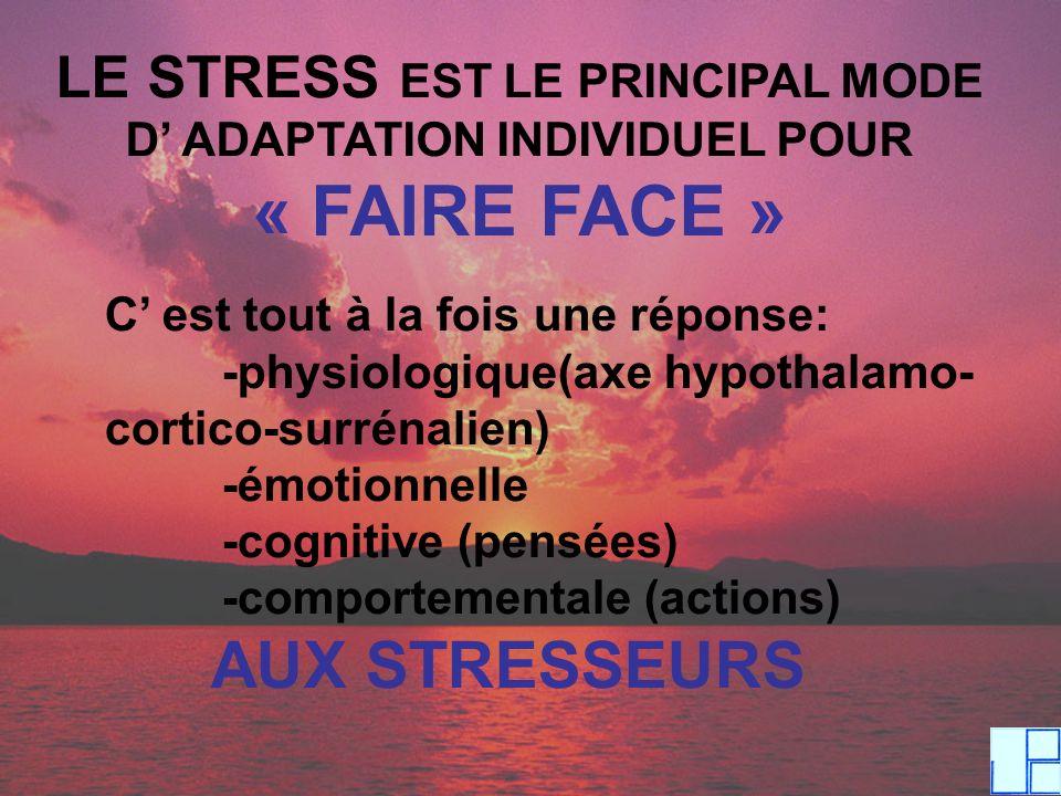 LE STRESS EST LE PRINCIPAL MODE D' ADAPTATION INDIVIDUEL POUR