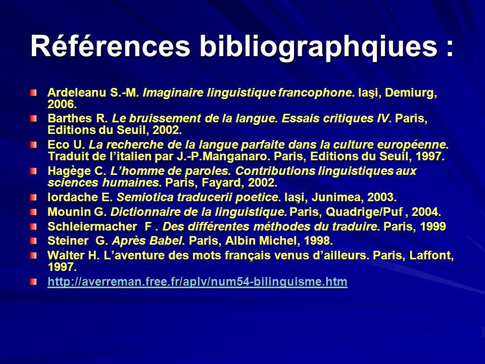 Références bibliographqiues :