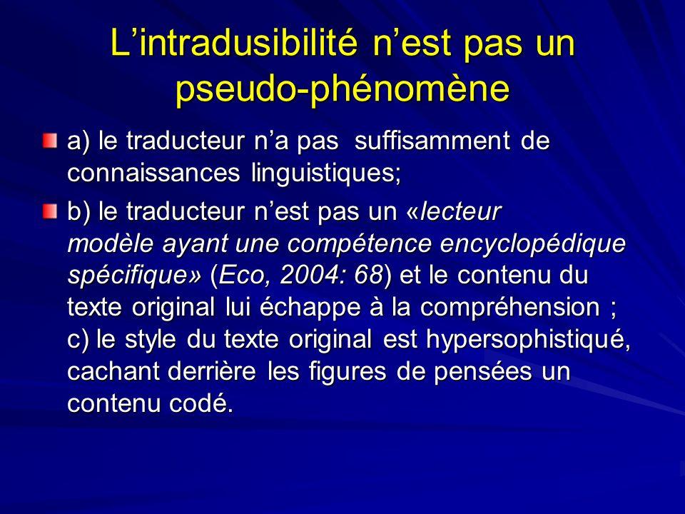 L'intradusibilité n'est pas un pseudo-phénomène