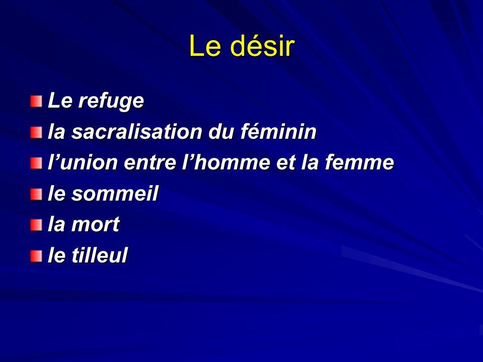 Le désir Le refuge la sacralisation du féminin