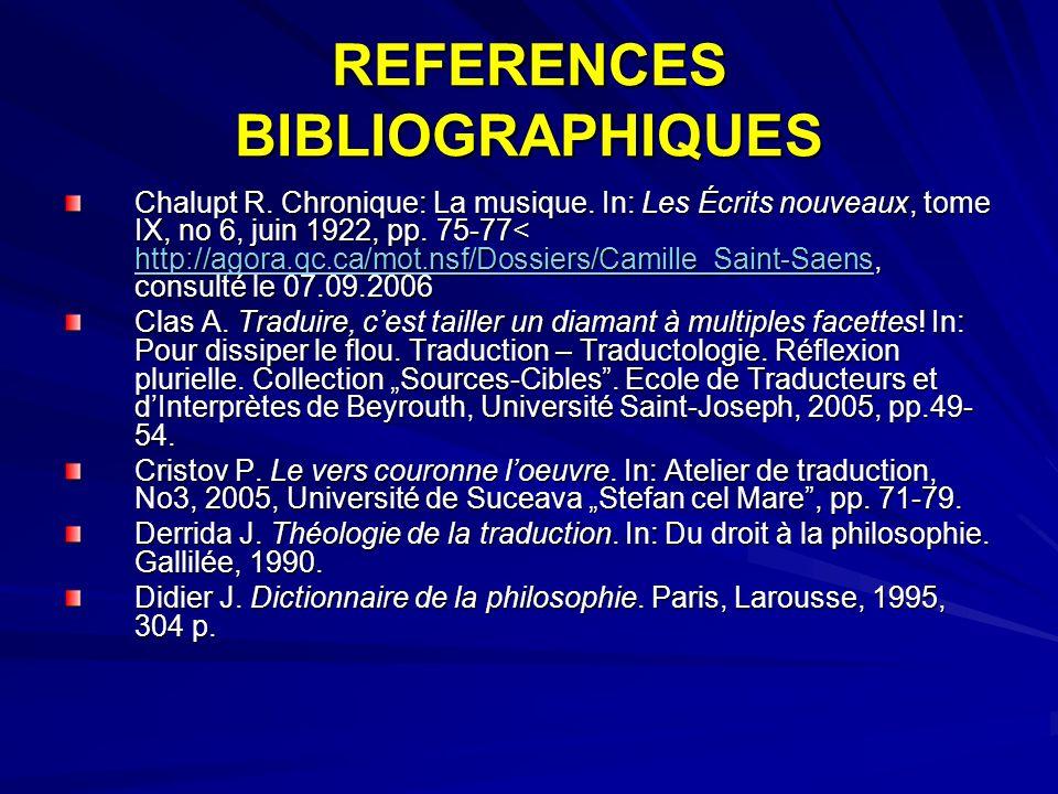 REFERENCES BIBLIOGRAPHIQUES