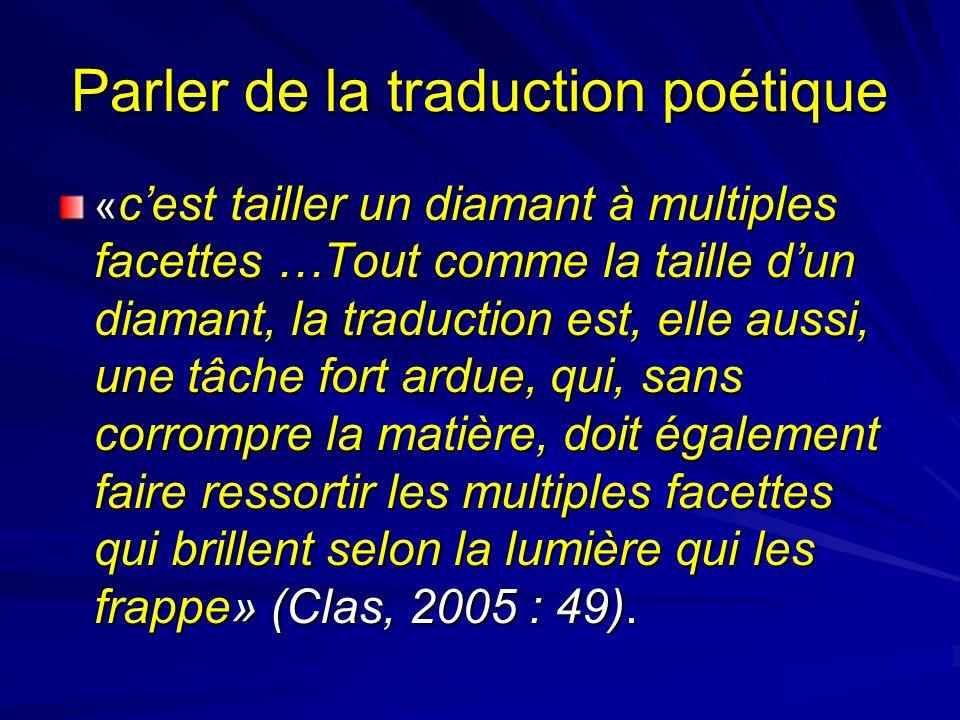 Parler de la traduction poétique