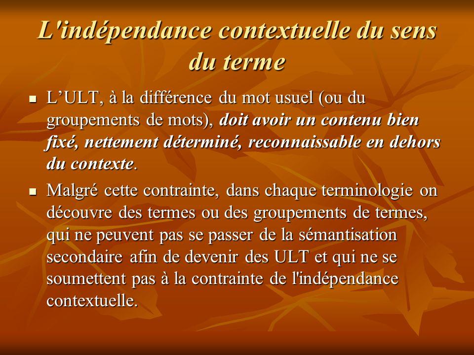 L indépendance contextuelle du sens du terme