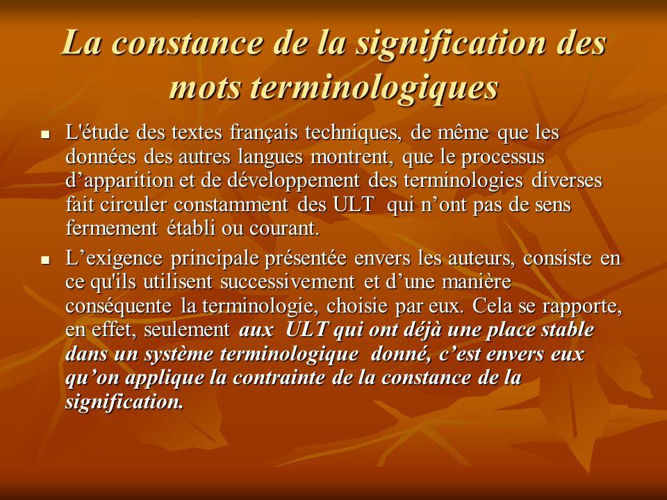 La constance de la signification des mots terminologiques
