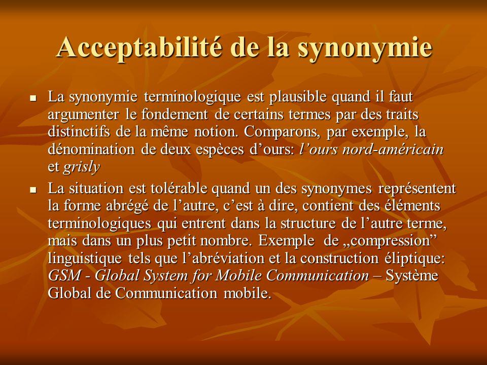 Acceptabilité de la synonymie