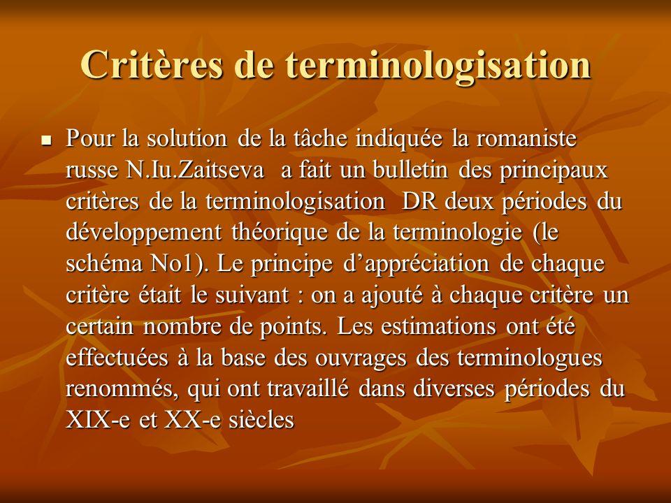 Critères de terminologisation
