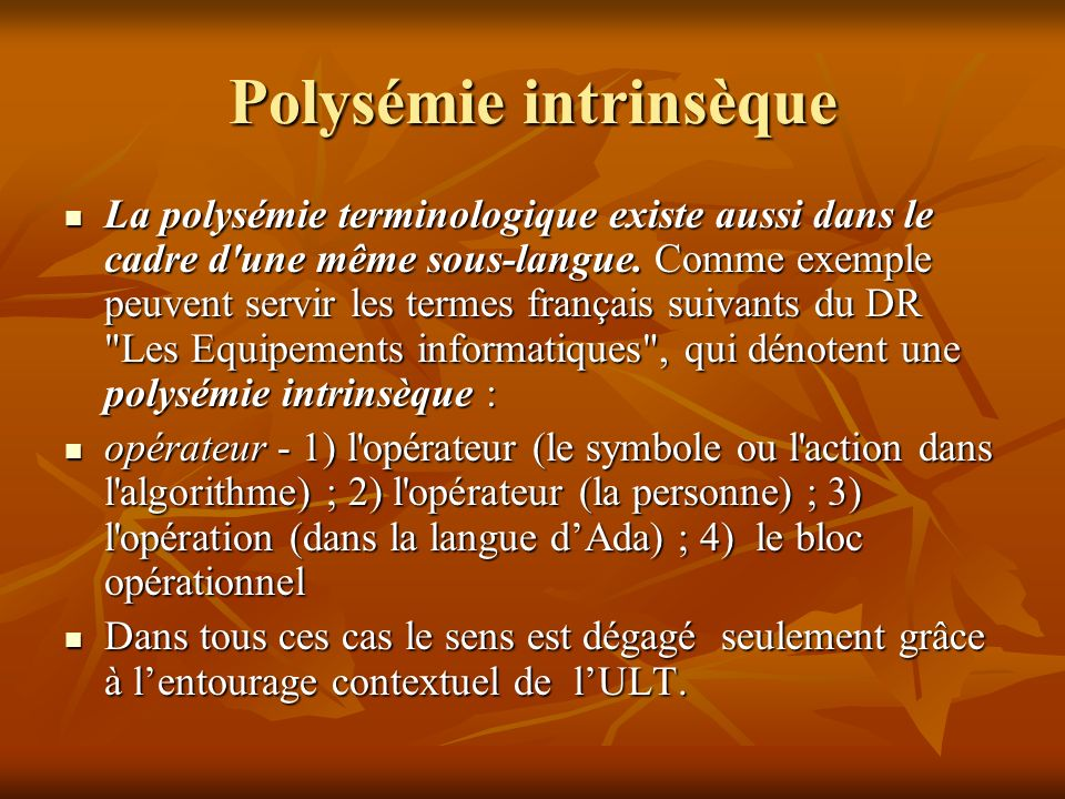 Polysémie intrinsèque