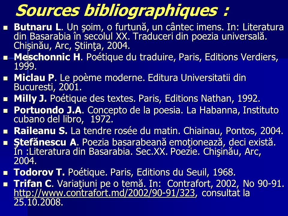 Sources bibliographiques :