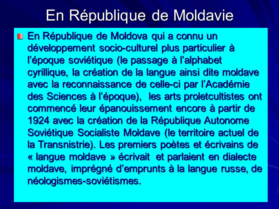 En République de Moldavie