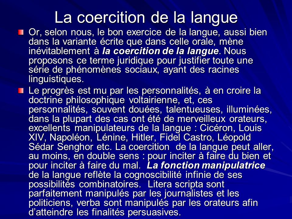 La coercition de la langue