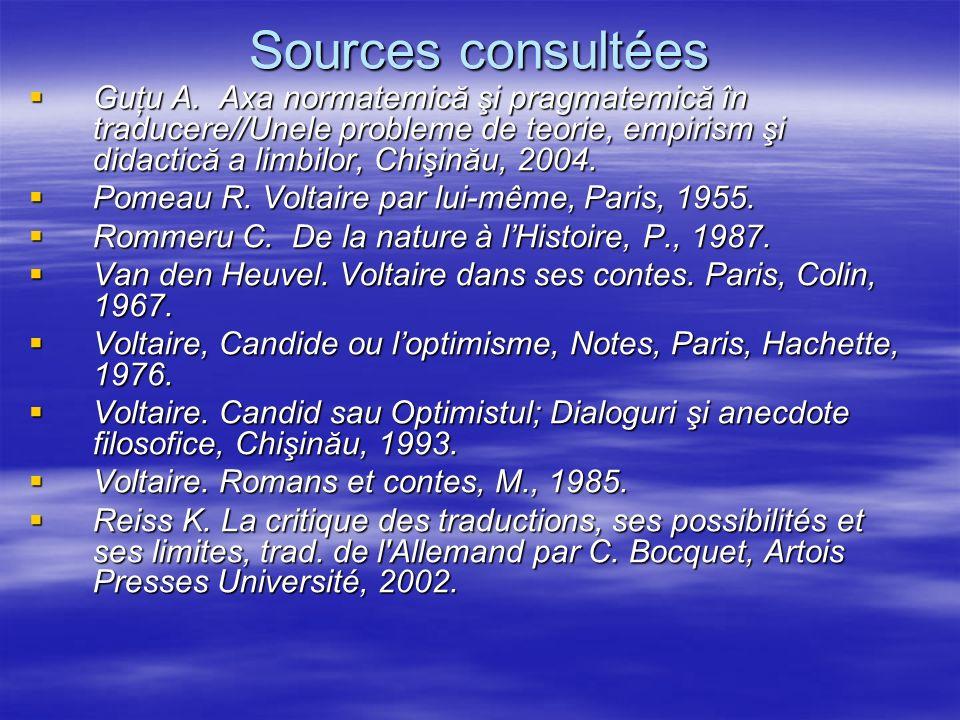 Sources consultées Guţu A. Axa normatemică şi pragmatemică în traducere//Unele probleme de teorie, empirism şi didactică a limbilor, Chişinău, 2004.