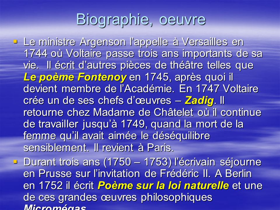Biographie, oeuvre