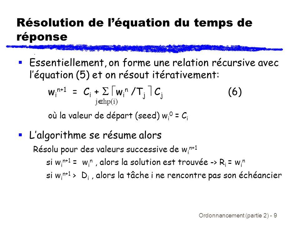 Résolution de l'équation du temps de réponse