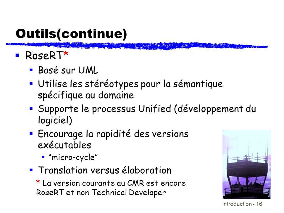 Outils(continue) RoseRT* Basé sur UML