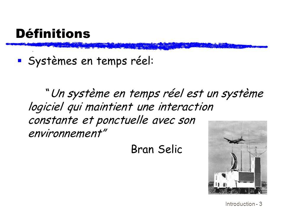 Définitions Systèmes en temps réel: